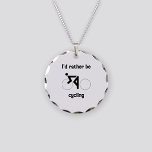 I'd Rather Be Cycling Necklace Circle Charm